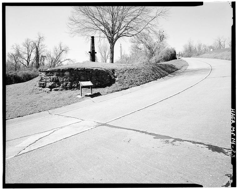Surrender interview site, showing Pemberton Avenue concrete slab road type with gutter (asphalt construction typical on Union and Confederate Avenues), view to the sw. - Vicksburg National Military Park Roads & Bridges, Vicksburg, Warren County, MS